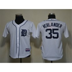 MLB Detroit Tigers 35 Justin Verlander White Cool Base Youth Jersey