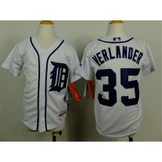 MLB Detroit Tigers 35 Justin Verlander White Youth Jersey