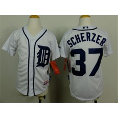 MLB Detroit Tigers 37 Max Scherzer White Youth Jersey