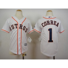 MLB Houston Astros 1 Carlos Correa Home White 2015 Cool Base Youth Jersey