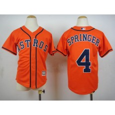 MLB Houston Astros 4 George Springer Alternate Orange 2015 Cool Base Youth Jersey