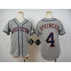 MLB Houston Astros 4 George Springer Grey 2015 Cool Base Youth Jersey