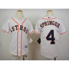 MLB Houston Astros 4 George Springer Home White 2015 Cool Base Youth Jersey