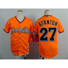 MLB Miami Marlins 27 Mike Stanton Orange Youth Jersey