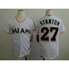 MLB Miami Marlins 27 Mike Stanton White Youth Jersey