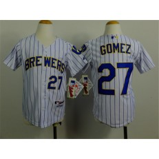MLB Milwaukee Brewers 27 Carlos Gomez White Pinstripe Youth Jersey