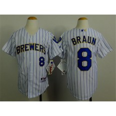 MLB Milwaukee Brewers 8 Ryan Braun White Pinstripe Youth Jersey