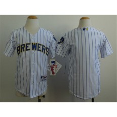 MLB Milwaukee Brewers Blank White Pinstripe Youth Jersey