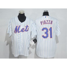 MLB New York Mets 31 Mike Piazza Retired White Stitched Majestic Cool Base Youth Jersey