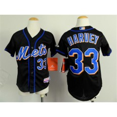MLB New York Mets 33 Matt Harvey Black Youth Jersey