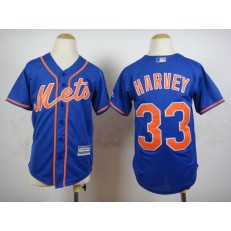 MLB New York Mets 33 Matt Harvey Blue 2015 Cool Base Youth Jersey