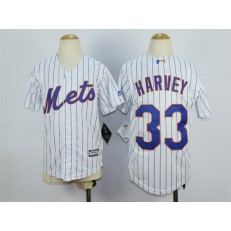 MLB New York Mets 33 Matt Harvey Home White Pinstripe 2015 Cool Base Youth Jersey