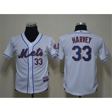 MLB New York Mets 33 Matt Harvey White Youth Jersey