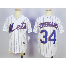 MLB New York Mets 34 Noah Syndergaard Home White Pinstripe 2015 Cool Base Youth Jersey