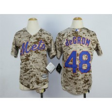 MLB New York Mets 48 Jacob deGrom Alternate Camo 2015 Cool Base Youth Jersey