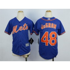MLB New York Mets 48 Jacob deGrom Blue 2015 Cool Base Youth Jersey