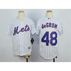 MLB New York Mets 48 Jacob deGrom Home White Pinstripe 2015 Cool Base Youth Jersey