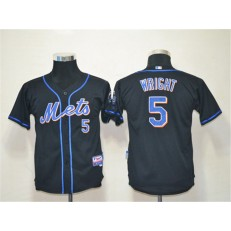 MLB New York Mets 5 David Wright Black Cool Base Youth Jersey