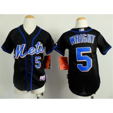 MLB New York Mets 5 David Wright Black Youth Jersey