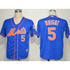MLB New York Mets 5 David Wright Blue Cool Base Youth Jersey