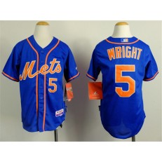 MLB New York Mets 5 David Wright Blue Youth Jersey