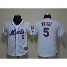 MLB New York Mets 5 David Wright White Youth Jersey