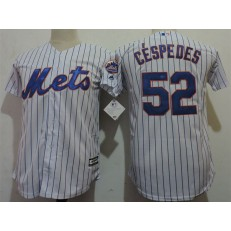 MLB New York Mets 52 Yoenis Cespedes White Cool Base Youth Jersey