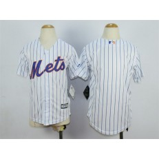 MLB New York Mets Blank Home White Pinstripe 2015 Cool Base Youth Jersey
