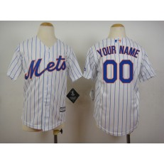 MLB New York Mets Customized Home White Pinstripe 2015 Cool Base Youth Jersey
