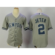 MLB New York Yankees 2 Derek Jeter Grey Cool Base Stitched Youth Jersey