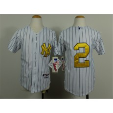 MLB New York Yankees 2 Derek Jeter White With Gold Youth Jersey