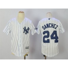 MLB New York Yankees 24 Gary Sanchez 2015 White With Navy Pinstripe Youth Jersey