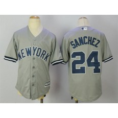 MLB New York Yankees 24 Gary Sanchez Grey Cool Base Stitched Youth Jersey