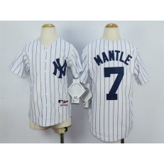 MLB New York Yankees 7 Mickey Mantle Name White Youth Jersey