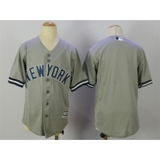 MLB New York Yankees Blank Grey Cool Base Stitched Youth Jersey
