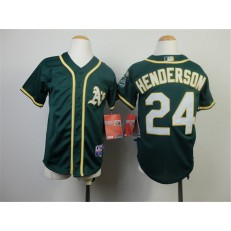 MLB Oakland Athletics 24 Rickey Henderson 2014 Green Youth Jersey