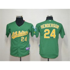 MLB Oakland Athletics 24 Rickey Henderson Green Cool Base Youth Jersey