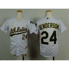 MLB Oakland Athletics 24 Rickey Henderson White Cool Base Baseball Youth Jersey