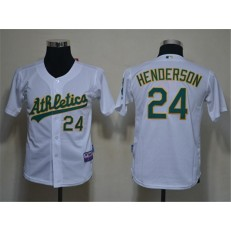 MLB Oakland Athletics 24 Rickey Henderson White Cool Base Youth Jersey