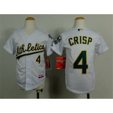MLB Oakland Athletics 4 Coco Crisp White Cool Base Baseball Youth Jersey