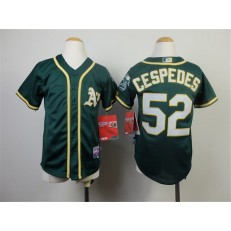 MLB Oakland Athletics 52 Yoenis Cespedes 2014 Green Youth Jersey