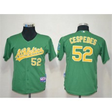 MLB Oakland Athletics 52 Yoenis Cespedes Green Cool Base Youth Jersey