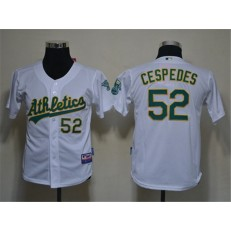 MLB Oakland Athletics 52 Yoenis Cespedes White Cool Base Youth Jersey