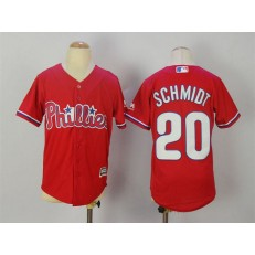 MLB Philadelphia Phillies 20 Mike Schmidt Red Stitched Majestic Cool Base Youth Jersey