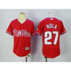 MLB Philadelphia Phillies 27 Aaron Nola Red Stitched Majestic Cool Base Youth Jersey
