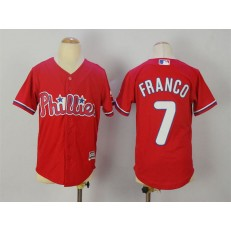 MLB Philadelphia Phillies 7 Maikel Franco Red Stitched Majestic Cool Base Youth Jersey