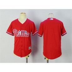 MLB Philadelphia Phillies Blank Red Stitched Majestic Cool Base Youth Jersey