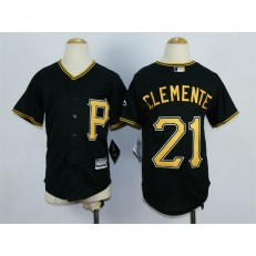 MLB Pittsburgh Pirates 21 Roberto Clemente Alternate Black 2015 Cool Base Youth Jersey