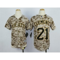MLB Pittsburgh Pirates 21 Roberto Clemente Alternate Camo 2015 Cool Base Youth Jersey