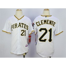 MLB Pittsburgh Pirates 21Roberto Clemente  White Youth Jersey